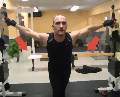 Kryssdrag med stretch 1. Du börjar med helt utsträckta armar. För sedan ihop armarna framför dig.